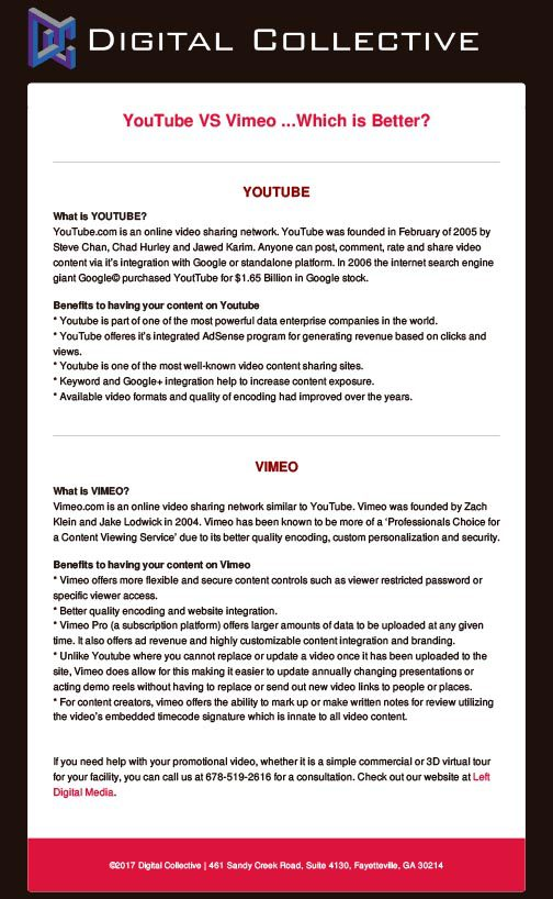 YouTube VS Vimeo ...Which is Better? Article by Left Digital Media | Digital Collective | Marketing Agency Fayetteville GA
